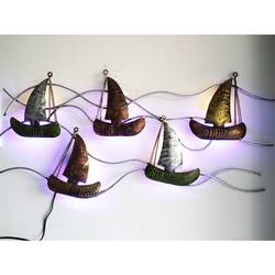 multicolored led backlit iron metal sailboat wall hanging, 30 x 14 inch, vgo cart,30x14inch,wood board,wall hangings,metal,GAL01132727280