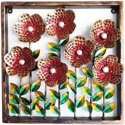 six red iron metal framed flowers with coloured leaf wall decor showpiece , 13 x 13 inch, vgo cart,13x13inch,wood board,wall hangings,metal,GAL01132727284
