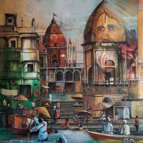 temple ghat , 24 x 30 inch, chetna bernela,24x30inch,canvas,paintings,religious paintings,acrylic color,GAL0784527297