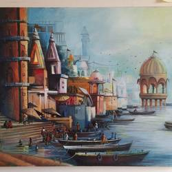 ghat 4, 30 x 24 inch, chetna bernela,30x24inch,canvas,religious paintings,acrylic color,GAL0784527298
