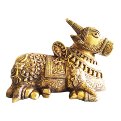 hand curved sitting nandi brass statue , 8 x 6 inch, vgo cart,8x6inch,canvas,religious statues,brass,GAL01132727317