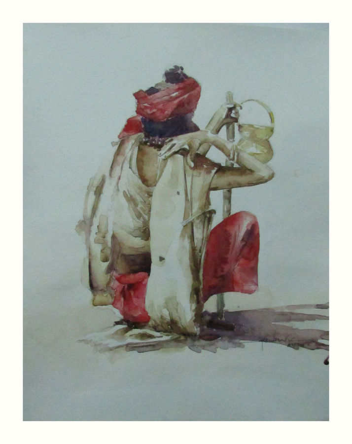 expectation, 11 x 14 inch, saravanan v,figurative paintings,paintings for living room,drawing paper,watercolor,11x14inch,GAL09142732