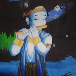 painting of goddess krishna, 17 x 24 inch, shiuli majumder,17x24inch,canvas,paintings,religious paintings,oil color,GAL01355227326