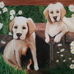 amazing mixing of colours on canvas representing beautiful labs, 15 x 20 inch, niketa khare,15x20inch,canvas,paintings,abstract paintings,wildlife paintings,nature paintings | scenery paintings,oil color,GAL01306627329