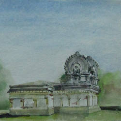 temple-1, 11 x 15 inch, saravanan v,paintings for office,realism paintings,handmade paper,watercolor,11x15inch,GAL09142733