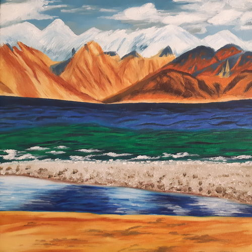 paygong so lake, 20 x 15 inch, niketa khare,20x15inch,canvas,paintings,landscape paintings,modern art paintings,nature paintings | scenery paintings,oil color,GAL01306627330