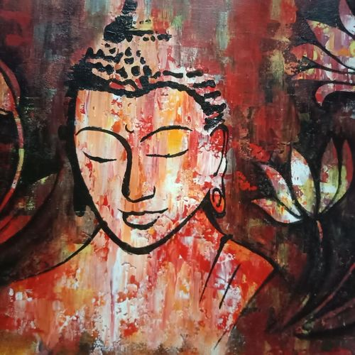 lord bhuddha, 24 x 14 inch, neelam suthar,24x14inch,canvas,buddha paintings,paintings for living room,paintings for bedroom,paintings for office,paintings for hotel,paintings for living room,paintings for bedroom,paintings for office,paintings for hotel,acrylic color,GAL0953427332