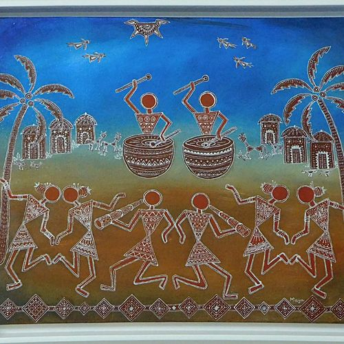festival, 20 x 16 inch, maya hajirnis,20x16inch,canvas,paintings,folk art paintings,landscape paintings,warli paintings,paintings for dining room,paintings for living room,paintings for bedroom,paintings for office,paintings for kids room,paintings for hotel,paintings for kitchen,paintings for school,paintings for hospital,acrylic color,mixed media,GAL01635827341
