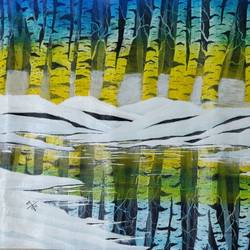 birch forest, 20 x 14 inch, nidhi choudhari,20x14inch,canvas,paintings,landscape paintings,surrealism paintings,acrylic color,GAL01583527342