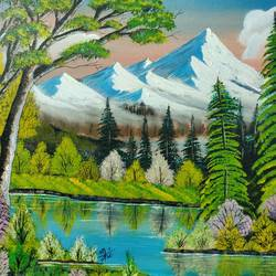 snowy mountain , 24 x 18 inch, nidhi choudhari,24x18inch,canvas,paintings,landscape paintings,acrylic color,GAL01583527345