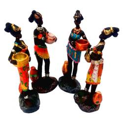 ethnic doll ancient african tribal women (4 pieces), 6 x 2 inch, vgo cart,6x2inch,wood board,handicrafts,sculptures,acrylic color,GAL01132727347