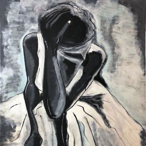 thoughtful lady, 24 x 36 inch, arnab gazi,24x36inch,canvas,paintings,figurative paintings,paintings for dining room,paintings for living room,paintings for bedroom,paintings for office,paintings for hotel,paintings for school,acrylic color,GAL01609127356