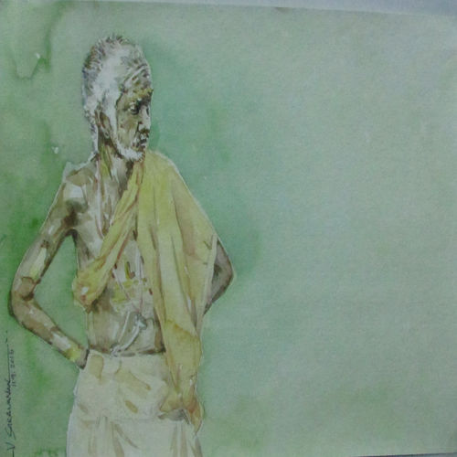 waiting, 11 x 7 inch, saravanan v,figurative paintings,paintings for living room,drawing paper,watercolor,11x7inch,GAL09142736
