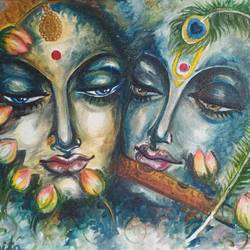 divine flute, 20 x 16 inch, sabita  banra,20x16inch,canvas,paintings,religious paintings,radha krishna paintings,love paintings,paintings for living room,paintings for bedroom,oil color,GAL01039427368