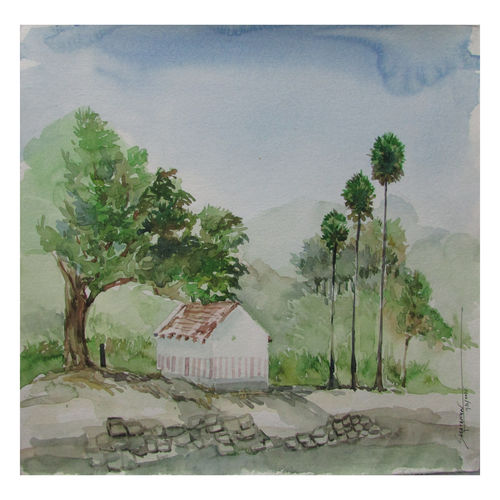 nature, 14 x 11 inch, saravanan v,nature paintings,paintings for living room,drawing paper,watercolor,14x11inch,GAL09142737Nature,environment,Beauty,scenery,greenery
