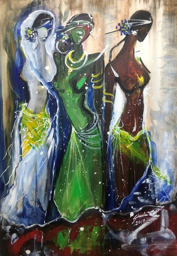 triveni, 24 x 36 inch, sheela ram deshpande,24x36inch,canvas,paintings,contemporary paintings,paintings for living room,acrylic color,GAL01640627373