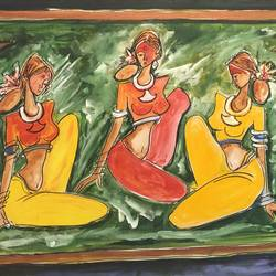 gossip , 36 x 24 inch, sheela ram deshpande,36x24inch,canvas,paintings,figurative paintings,paintings for living room,acrylic color,GAL01640627376