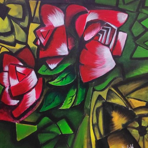 roses in nature, 32 x 32 inch, vyshakh  shiburaj vaidyan,32x32inch,canvas,paintings,abstract paintings,flower paintings,modern art paintings,cubism paintings,paintings for dining room,paintings for living room,paintings for office,paintings for hotel,paintings for dining room,paintings for living room,paintings for office,paintings for hotel,acrylic color,GAL01641027378