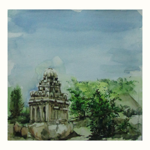 mahapalipuram, 14 x 11 inch, saravanan v,nature paintings,paintings for dining room,drawing paper,watercolor,14x11inch,GAL09142738Nature,environment,Beauty,scenery,greenery