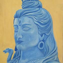 the enigmatic lord shiva, 12 x 17 inch, aarti jadli,12x17inch,canson paper,paintings,religious paintings,portrait paintings,lord shiva paintings,paintings for living room,watercolor,paper,GAL01247427380