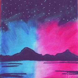 night view , 8 x 10 inch, pragya kashyap,8x10inch,drawing paper,expressionism paintings,paintings for bedroom,paintings for bedroom,pastel color,paper,GAL01641327381