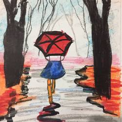 lady with umbrella , 9 x 10 inch, pragya kashyap,9x10inch,drawing paper,paintings,figurative paintings,paintings for bedroom,oil color,GAL01641327383