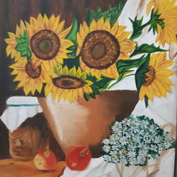 hand made sunflower pot beauti at its best, 15 x 20 inch, niketa khare,15x20inch,canvas,paintings,abstract paintings,flower paintings,oil color,GAL01306627395