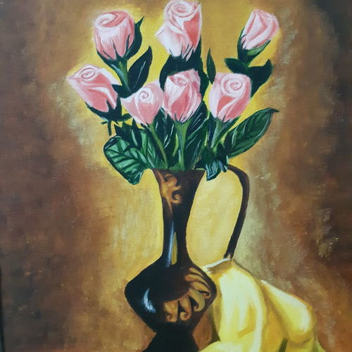 rose flower pot, 15 x 20 inch, niketa khare,15x20inch,canvas,paintings,abstract paintings,flower paintings,love paintings,paintings for dining room,paintings for living room,paintings for bedroom,paintings for office,oil color,GAL01306627396