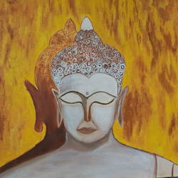 buddha creative painting symbol of peace, 20 x 15 inch, niketa khare,20x15inch,canvas,paintings,abstract paintings,realistic paintings,paintings for dining room,paintings for bedroom,paintings for office,oil color,GAL01306627397