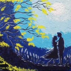 nightfall lover scene, 12 x 16 inch, sandhya kumari,12x16inch,canvas board,paintings,figurative paintings,flower paintings,nature paintings | scenery paintings,street art,love paintings,paintings for dining room,paintings for living room,paintings for bedroom,paintings for office,paintings for hotel,paintings for kitchen,paintings for school,paintings for hospital,acrylic color,GAL0365927399