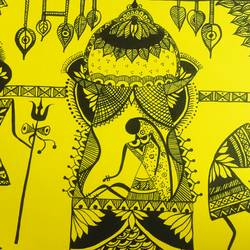 warli wedding painting, 8 x 12 inch, ragini pandey,folk art paintings,paintings for living room,warli paintings,thick paper,acrylic color,8x12inch,GAL0107274