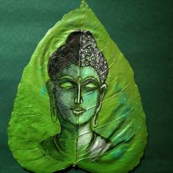 buddha, 7 x 10 inch, braja jena,7x10inch,leaf,buddha paintings,mixed media,GAL01643127404