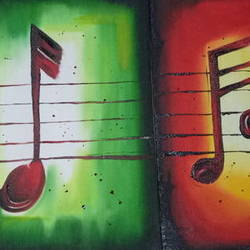 love for music, 18 x 20 inch, apeksha agrawal,18x20inch,canvas,paintings,multi piece paintings,oil color,GAL01501127405