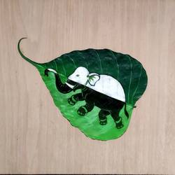elephant airabata , 7 x 5 inch, braja jena,7x5inch,leaf,wildlife paintings,fabric,GAL01643127406