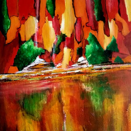 reflection  1, 24 x 24 inch, gauri gulati,24x24inch,canvas,paintings,abstract paintings,paintings for dining room,paintings for living room,paintings for bedroom,paintings for office,paintings for hotel,paintings for school,paintings for hospital,acrylic color,GAL01601927407