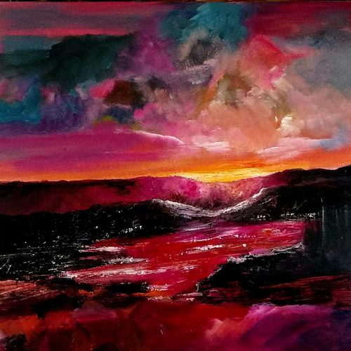 sunset, 24 x 24 inch, gauri gulati,24x24inch,canvas,paintings,abstract paintings,impressionist paintings,paintings for dining room,paintings for living room,paintings for bedroom,paintings for office,paintings for kids room,paintings for hotel,paintings for school,paintings for hospital,acrylic color,GAL01601927408