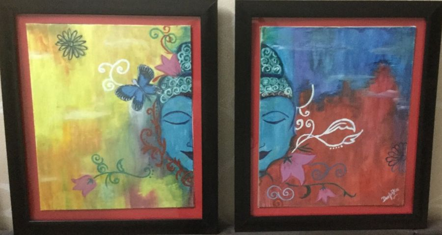 Set of two buddha paintings