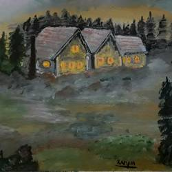 cottage painting, 12 x 16 inch, raman pandey,12x16inch,canvas,landscape paintings,acrylic color,GAL01642027423
