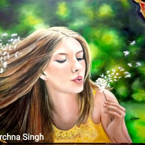 let your thoughts free, 36 x 24 inch, archna  singh,36x24inch,canvas board,paintings,figurative paintings,conceptual paintings,portrait paintings,illustration paintings,photorealism,realistic paintings,oil color,GAL0271127431