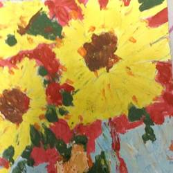 sunflower, 6 x 8 inch, samata vallurupalli,flower paintings,paintings for living room,thick paper,fabric,6x8inch,GAL09632744