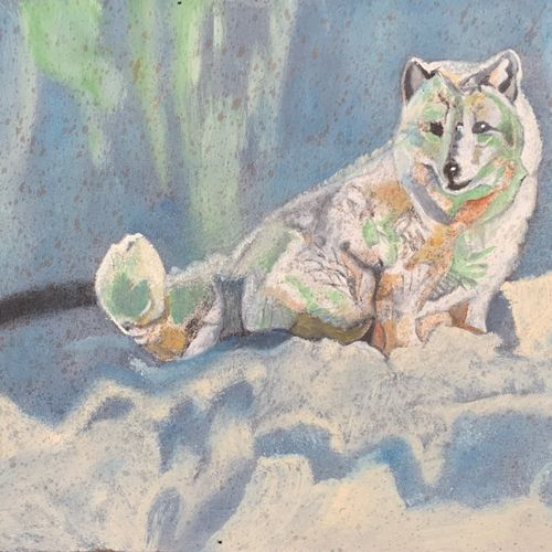 snow wolf, 16 x 9 inch, pritpal singh sodhi,16x9inch,canvas board,paintings,abstract paintings,wildlife paintings,landscape paintings,nature paintings | scenery paintings,photorealism paintings,photorealism,realism paintings,animal paintings,paintings for dining room,paintings for living room,paintings for bedroom,paintings for office,paintings for bathroom,paintings for kids room,paintings for hotel,paintings for kitchen,paintings for school,paintings for hospital,oil color,GAL01593027444