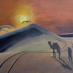 sunset in sahara, 35 x 25 inch, pritpal singh sodhi,35x25inch,canvas,paintings,wildlife paintings,cityscape paintings,landscape paintings,modern art paintings,still life paintings,nature paintings | scenery paintings,expressionism paintings,photorealism paintings,photorealism,surrealism paintings,animal paintings,paintings for dining room,paintings for living room,paintings for bedroom,paintings for office,paintings for bathroom,paintings for kids room,paintings for hotel,paintings for kitchen,paintings for school,paintings for hospital,oil color,GAL01593027445