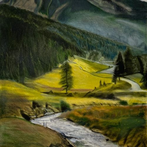river flowing from mountains, 23 x 36 inch, pritpal singh sodhi,23x36inch,canvas,paintings,landscape paintings,still life paintings,nature paintings | scenery paintings,expressionism paintings,photorealism paintings,photorealism,realism paintings,water fountain paintings,paintings for dining room,paintings for living room,paintings for bedroom,paintings for office,paintings for bathroom,paintings for kids room,paintings for hotel,paintings for kitchen,paintings for school,paintings for hospital,oil color,GAL01593027446