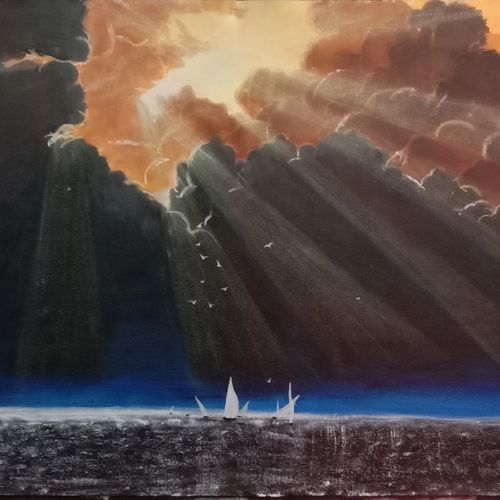 sun rays, 34 x 22 inch, ila  singh,34x22inch,canvas,paintings,nature paintings | scenery paintings,expressionism paintings,impressionist paintings,photorealism paintings,photorealism,realism paintings,realistic paintings,paintings for dining room,paintings for living room,paintings for bedroom,paintings for office,paintings for kids room,paintings for hotel,paintings for school,paintings for hospital,acrylic color,GAL0795927450