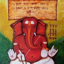 ganesha vighnaharta, 20 x 27 inch, priya prakash,20x27inch,canvas,paintings,abstract paintings,figurative paintings,modern art paintings,conceptual paintings,religious paintings,abstract expressionism paintings,expressionism paintings,ganesha paintings | lord ganesh paintings,realistic paintings,paintings for dining room,paintings for living room,paintings for bedroom,paintings for office,paintings for kids room,paintings for hotel,paintings for school,paintings for hospital,acrylic color,GAL0915827452,ganpati,ganesha,lord ganesh,elephant god,religious,ganpati bappa morya,mouse,mushakraj,ladoo,sweets