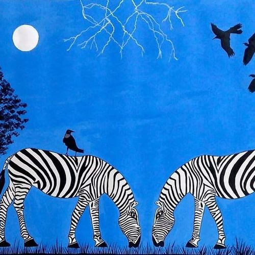 landscape with zebras, 30 x 22 inch, geeta kwatra,30x22inch,handmade paper,paintings,abstract paintings,nature paintings | scenery paintings,paintings for kids room,paintings for hotel,acrylic color,GAL0899127459