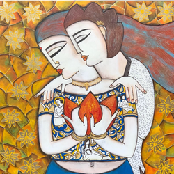eternal love , 24 x 24 inch, nandini verma,24x24inch,canvas,paintings,figurative paintings,expressionism paintings,love paintings,paintings for dining room,paintings for living room,paintings for bedroom,paintings for hotel,acrylic color,GAL0273727462