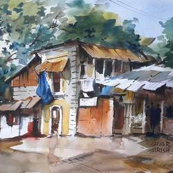 landscape , 15 x 11 inch, girish gujar,15x11inch,handmade paper,paintings,landscape paintings,watercolor,GAL01647127464