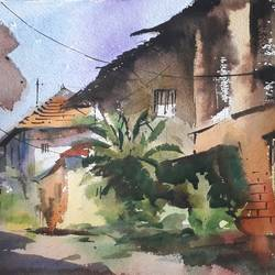 landscape , 15 x 11 inch, girish gujar,15x11inch,handmade paper,paintings,landscape paintings,watercolor,GAL01647127465