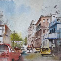 landscape , 15 x 11 inch, girish gujar,15x11inch,handmade paper,paintings,landscape paintings,watercolor,GAL01647127466